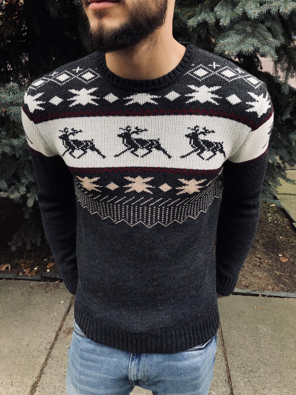Зимний свитер мужской серый от бренда Morning Star размер S, M, L