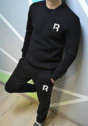 Спортивный зимний костюм Reebok без капюшона утепленный black. Живое фото. реплика