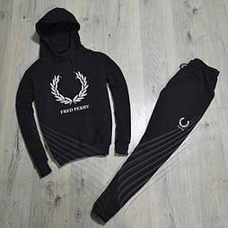 Спортивный зимний костюм Fred Perry с капюшоном утепленный black. Живое фото. реплика