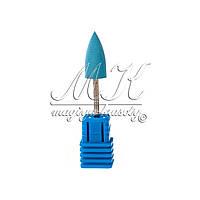 Силиконовая насадка (фреза) для фрезера, полировщик,  заостренный конус (синяя)