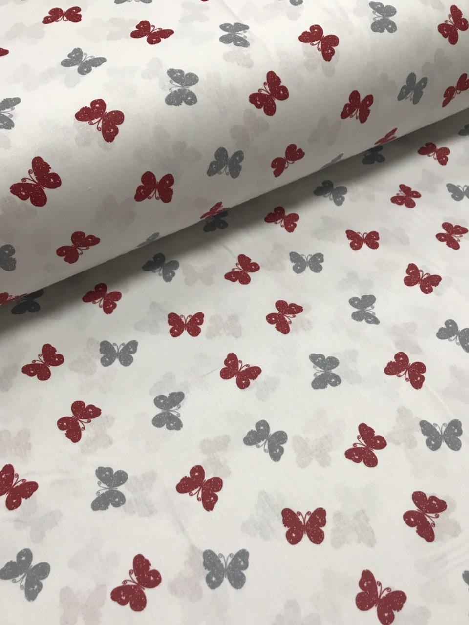 Ткань поплин серо-красные бабочки на белом редкие (ТУРЦИЯ шир. 2,4 м) №32-184