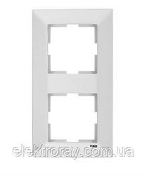 Рамка 2-местная вертикальная белая Viko Meridian