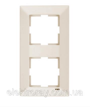 Рамка 2-местная вертикальная крем Viko Meridian, фото 2