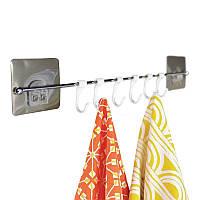 Вешалка для полотенец с крючками 42 см на липучке 5кг SQ-5057 132851