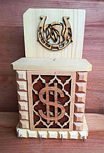 Настенная деревянная ключница-копилка (маленькая)