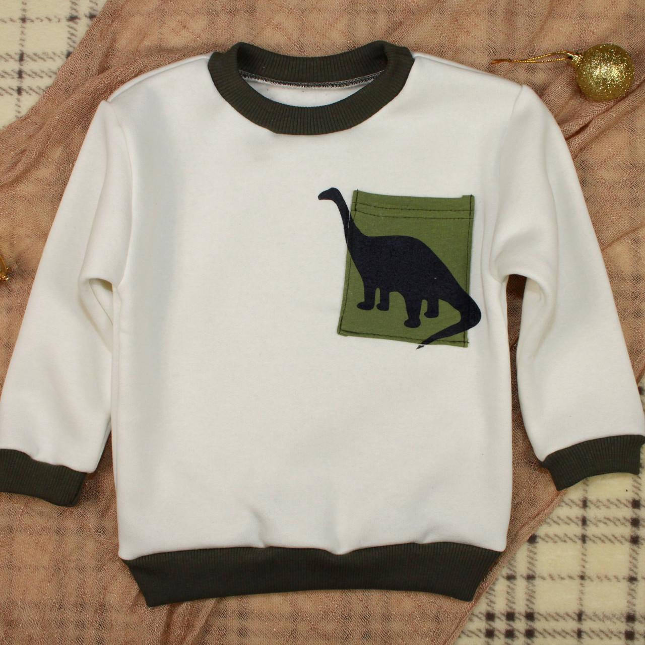 Свитшот с динозавром для мальчика. Теплый детский джемпер   Толстовка для хлопчика