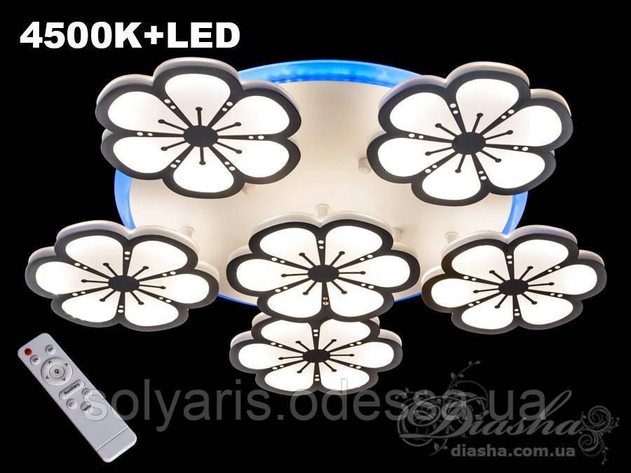 Потолочная LED-люстра с подсветкой,  диммер 120W 8063/5+1