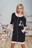 Халат с вышивкой черный, фото 1