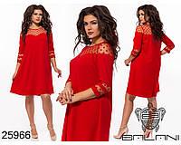 Воздушное платье трапеция с декором из сетки в горошек с 48 по 54 размер, фото 1