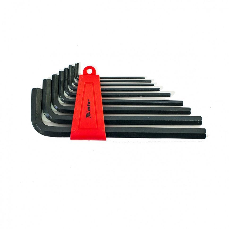 Набор ключей имбусовых HEX (шестигранный), 2, 0-12 мм, CrV, 9 шт., Оксидированные, удлиненные // MTX 112279