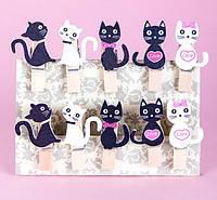 Мини прищепки для декора Коты фигуры 10штук