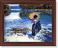 """Репродукция  современной картины  Говарда Беренса (США) """"Прохладная вода» 28 х 35 см"""