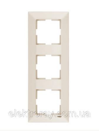 Рамка 3-местная вертикальная крем Viko Meridian