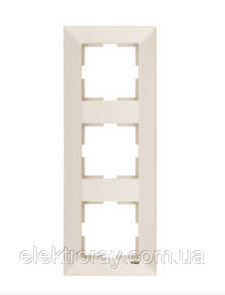 Рамка 3-местная вертикальная крем Viko Meridian, фото 2