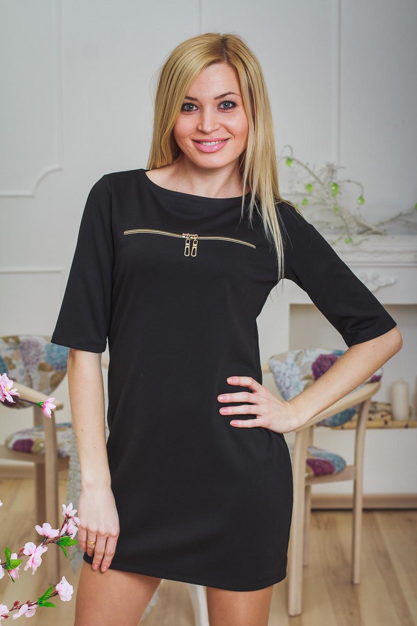 Платье-туника с молниями черная