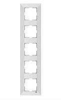 Рамка 5-местная вертикальная белая, крем Viko Meridian