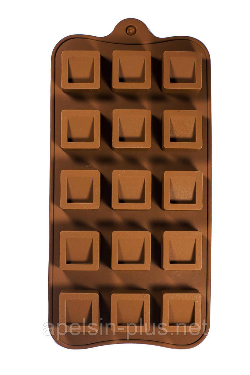 """Силиконовая форма для конфет """"Кубики"""" 15 ячеек"""