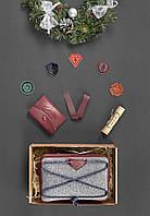Подарочный набор скаута для девочки из фетра, кожи марсала ( напоясная сумка, кошелек ) ручная работа, фото 1