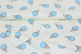 Сатин-твил Мороженое голубое на экрю  (остаток 2.20 мп)