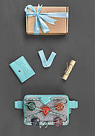 Подарочный набор скаута для девочки из фетра, кожи бирюза ( напоясная сумка, кошелек ) ручная работа