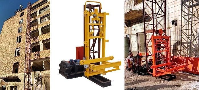 Висота підйому Н-61 метрів. Вантажні будівельні підйомники, Щогловий підйомник 1 тонна, 1000 кг.