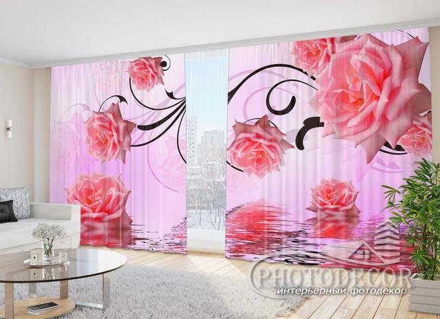 3D Цветы, стразы, жемчуг на шторах 2,70м*2,90м (карниз 2,90м)