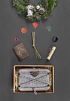 Подарочный набор скаута для мальчика из фетра, кожи коричневый ( напоясная сумка, кошелек ) ручная работа