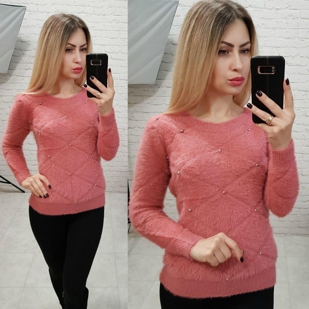 Мягкий свитер с жемчугом