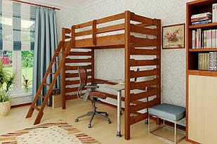 Лiжко-горище в дитячу кiмнату з натурального дерева Троя-2 Mebigrand