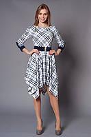 Женское платье крой по косой и классический принт в клеточку