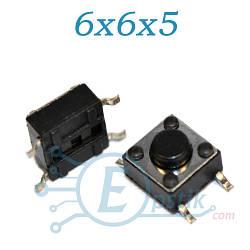 Кнопка тактовая, 6x6x5мм., SMD