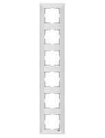 Рамка 6-местная вертикальная белая Viko Meridian