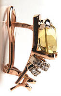 Золотые серьги с цитрином
