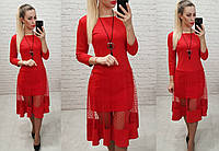 Платье люкс, арт 146,ткань креп дайвинг, цвет красный