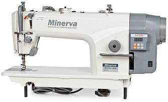 Minerva M5550-1JDE, промышленная швейная машина с встроенным сервомотором и автоматической обрезкой нити