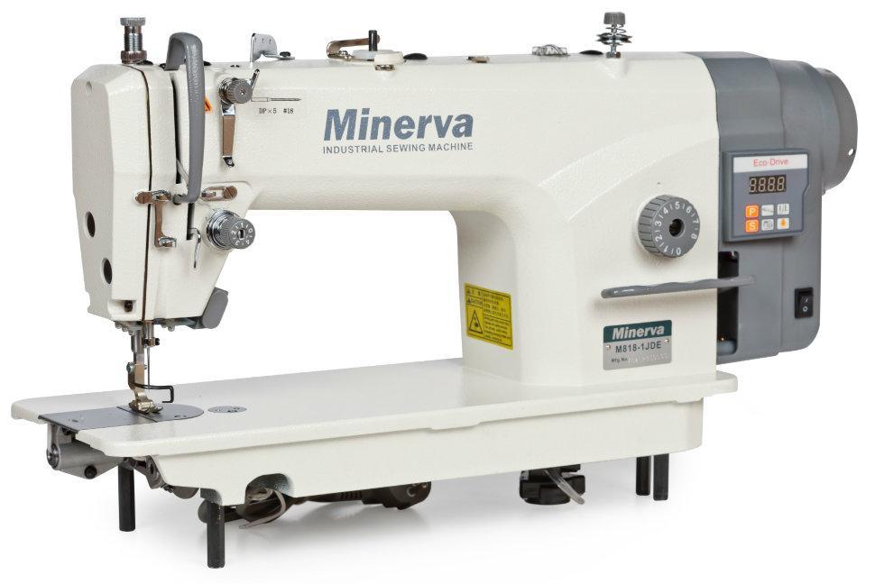 Minerva M818-1JDE, промышленная швейная машина с встроенным сервомотором и автоматической обрезкой нити