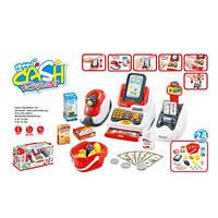 Детский кассовый аппарат с продуктами, деньгами, сканером на батарейках