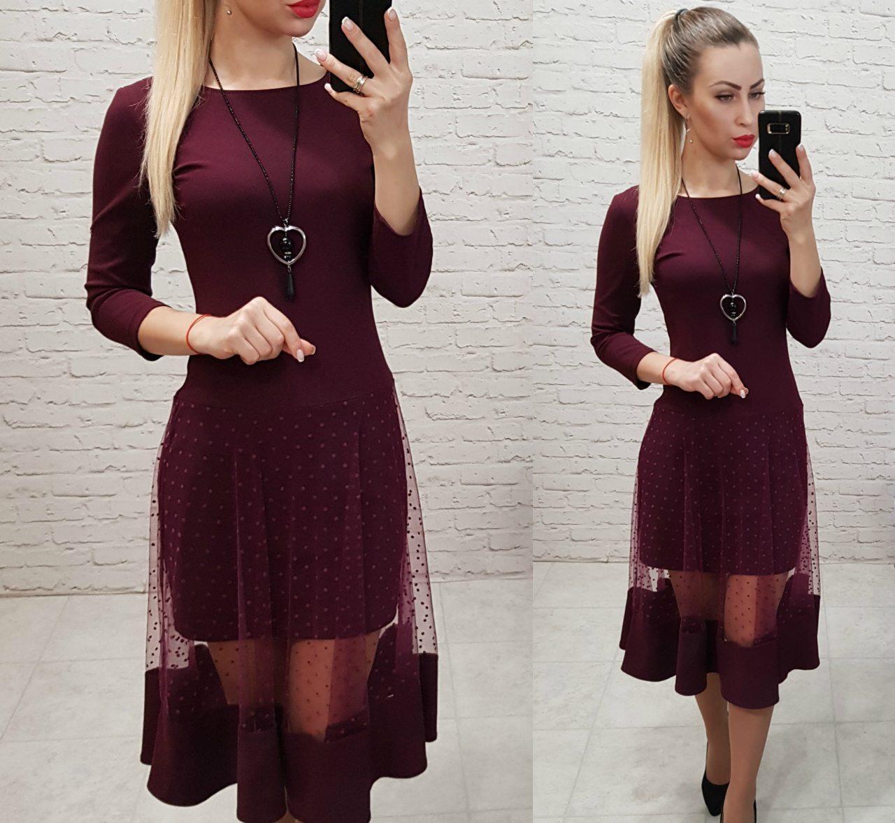 Платье люкс, арт 146,ткань креп дайвинг, цвет бордо