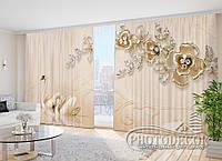 """Фото Шторы в зал """"Лебеди и цветы"""" 2,7м*5,0м (2 полотна по 2,5м), тесьма"""
