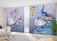 """Фото Шторы в зал """"Павлин и цветы"""" 2,7м*5,0м (2 полотна по 2,5м), тесьма"""