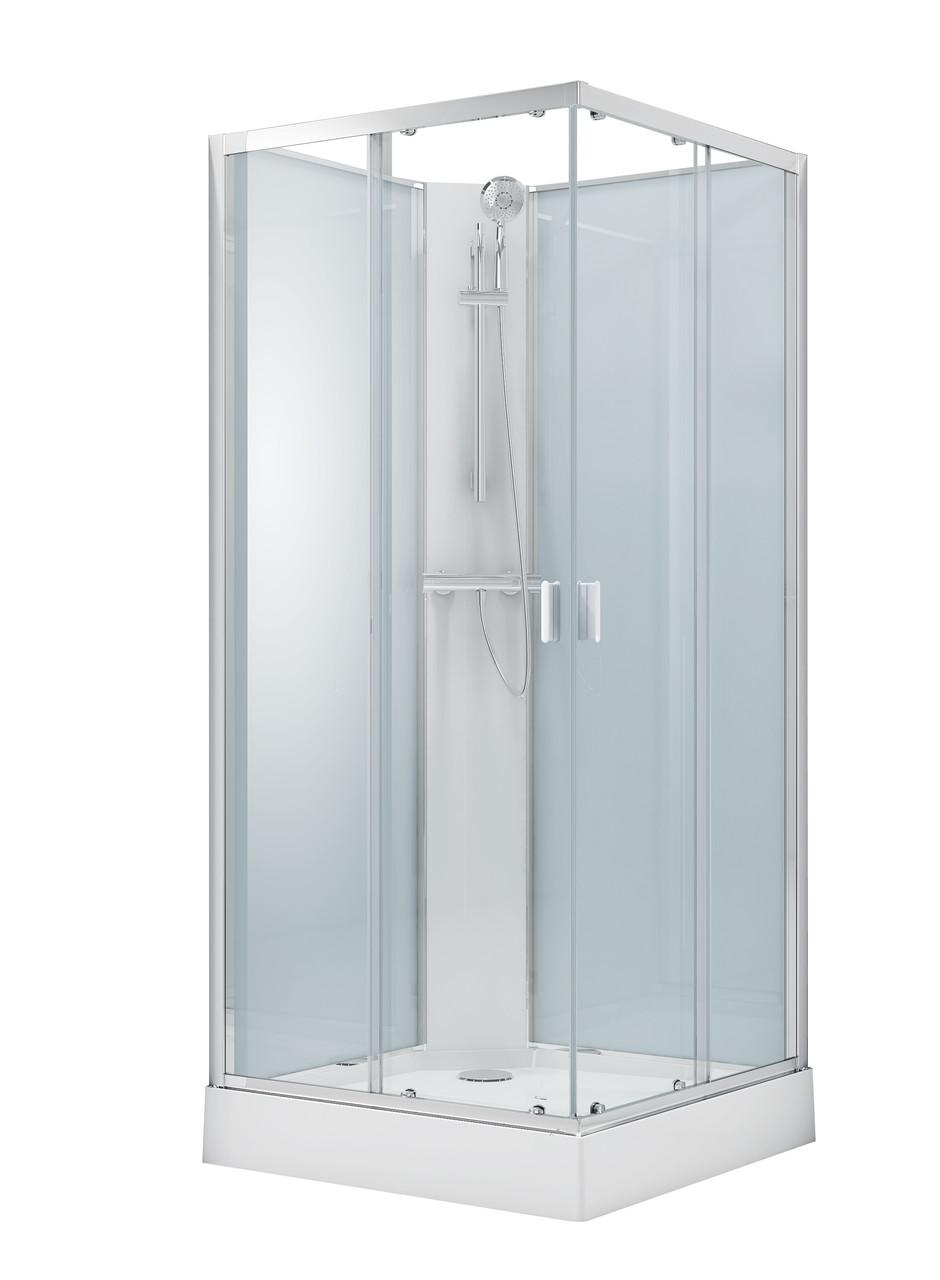 SOLAR душевой бокс квадратный без крыши 90*90*205см в комплекте с мелким поддоном,профиль хром, стекло прозрач