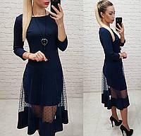 Платье люкс, арт 146,ткань креп дайвинг, цвет темно синий