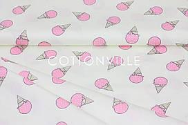 Сатин-твил Мороженое розовое на экрю
