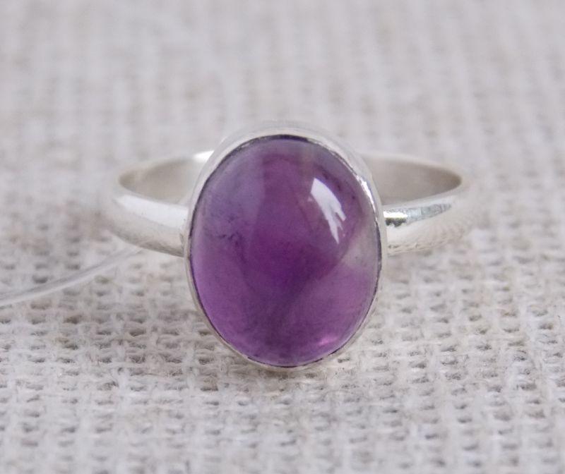 Серебряное кольцо 17 размера с аметистом