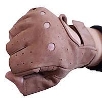 Перчатки кожаные без пальцев коричневые из нубука