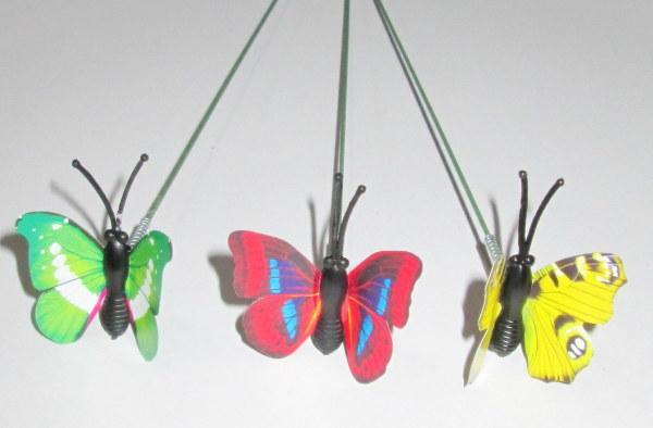 Набор бабочек на ножке 4*3,5 см, 3 шт
