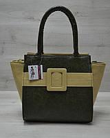 Молодежная женская сумка Комбинированная болотного цвета с оливковым ремнем