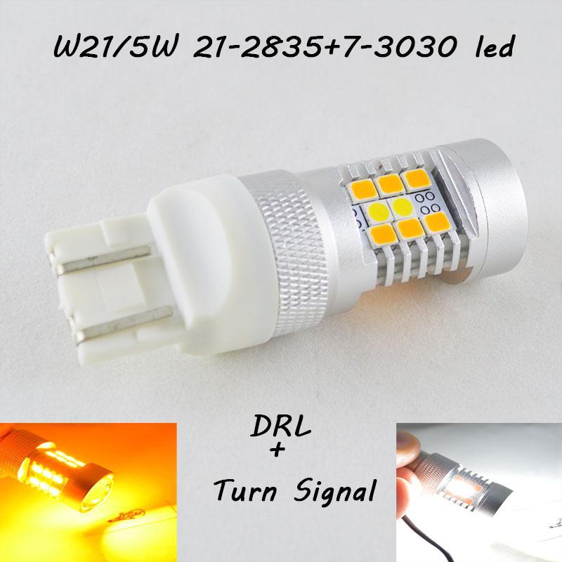 Светодиодная автомобильная лампа SLP LED с цоколем T20(W21/5W)(7443) 2835- 3030 led жёлтый/белый