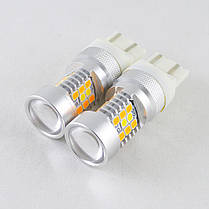 Светодиодная автомобильная лампа SLP LED с цоколем T20(W21/5W)(7443) 2835- 3030 led жёлтый/белый, фото 2