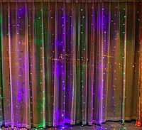 Новорічна світлодіодна гірлянда Водоспад 480LED шторка 3х3м, різнокольорова